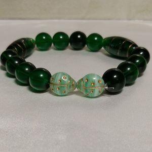 Prosperity Green Kissing Ladybugs Stretch Bracelet